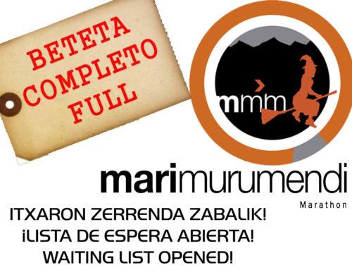 Marimurumendi Marathon: COMPLETO. Lista espera abierta